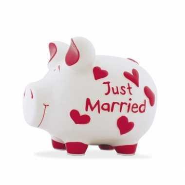 Spaarpot varken/spaarvarken just married 17 cm huwelijk cadeau