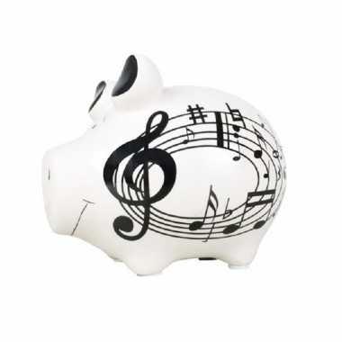 Spaarpot varken/spaarvarken wit muziek thema 12 cm
