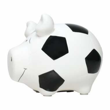 Spaarpot varken/spaarvarken wit voetbal thema 12 cm