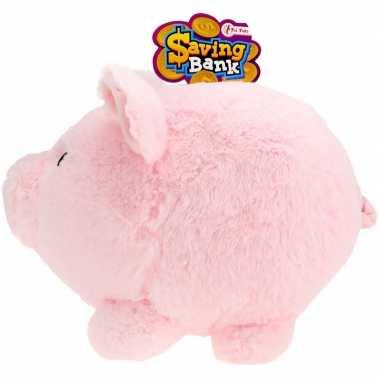 Xxl pluche spaarpot varken/spaarvarken roze 40 cm