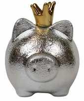 Spaarpot spaarvarken zilver met kroon 16 x 15 cm